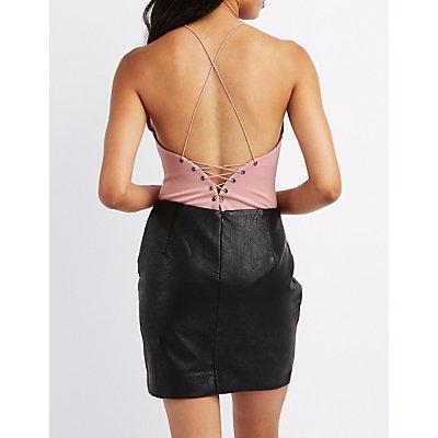 Notched Lace-Up Back Bodysuit