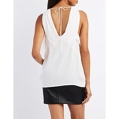 Ruffle Tie-Back Tank Top