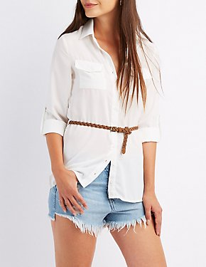 Belted Button-Up Pocket Shirt