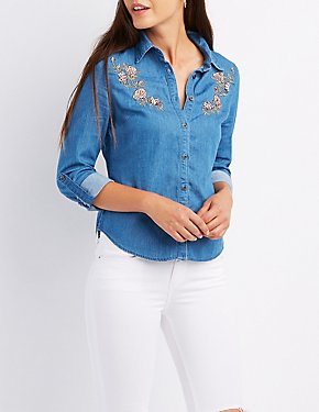 Embroidered Chambray Button-Up Shirt