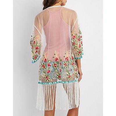 Embroidered Fringe Duster Kimono
