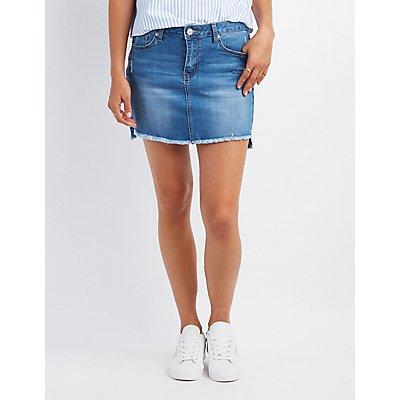 Destroyed Denim Mini Skirt