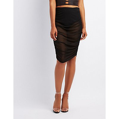 Mesh Ruched Bodycon Skirt