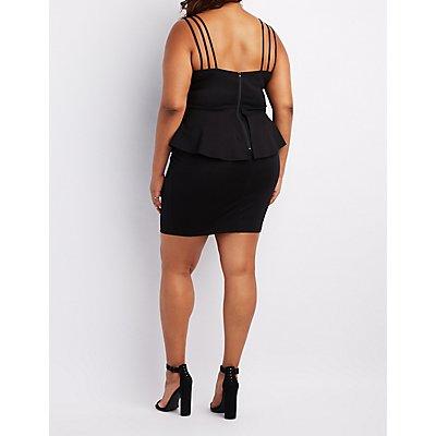 Plus Size Strappy Notched Peplum Dress