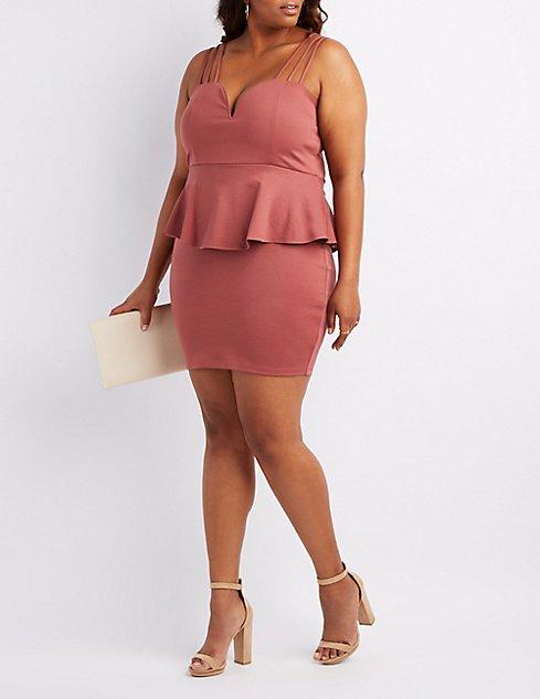 Plus Size Strappy Notched Peplum Dress | Charlotte Russe