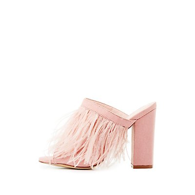 Feather Peep Toe Mules