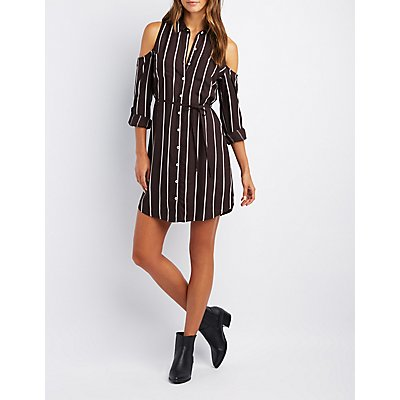 Striped Cold Shoulder Shirt Dress