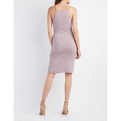 Bib Neck Bodycon Slit Dress