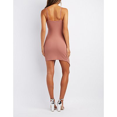 Asymmetrical Bodycon Wrap Dress