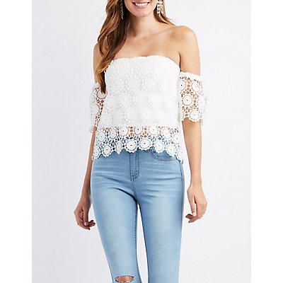 Crochet Off-The-Shoulder Skimmer Top