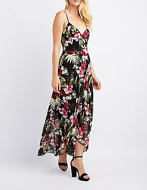 Tropical Mesh Surplice Maxi Dress