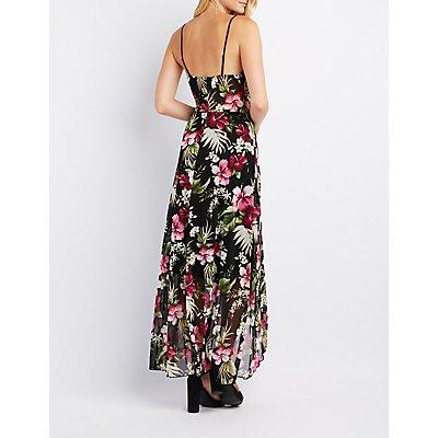 Tropical Mesh Surplice Maxi Dress