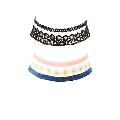 Lace, Woven, Velvet, & Denim Choker Necklaces - 5 Pack