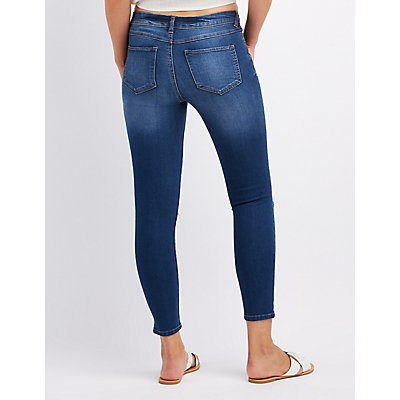 Embroidered Destroyed Skinny Jeans