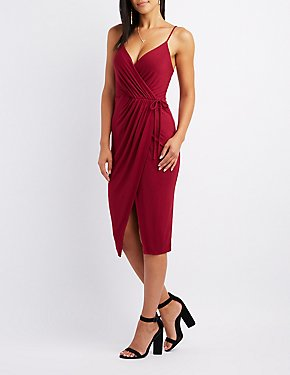Asymmetrical Midi Wrap Dress