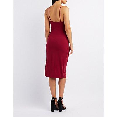 Asymmetrical Midi Wrap Dress