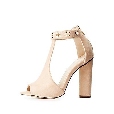 Grommet T-Strap Block Heel Sandals