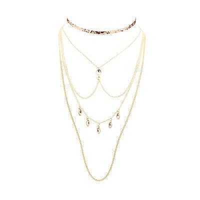 Embellished Choker & Layered Choker Necklaces - 2 Pack