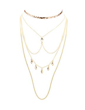 Embellished Choker & Layered Choker Necklaces - 2 Pack