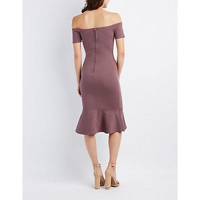 Off-The-Shoulder Flounced Dress