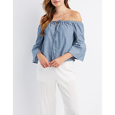 Chambray Bell Sleeve Off-The-Shoulder Top