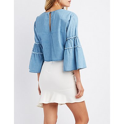 Chambray Keyhole Bell Sleeve Top