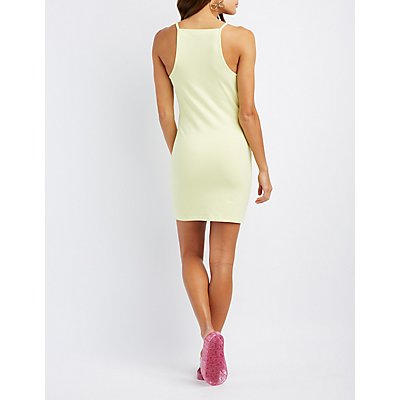 Bib Neck Bodycon Dress