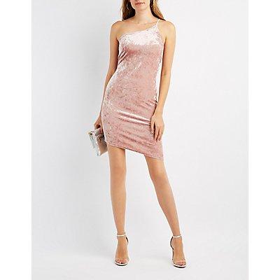 Velvet One-Shoulder Bodycon Dress