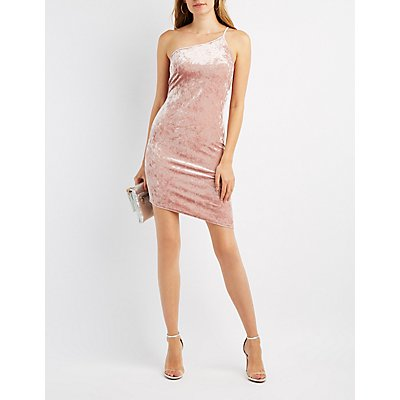 Velvet One-Shoulder Bodycon Dress