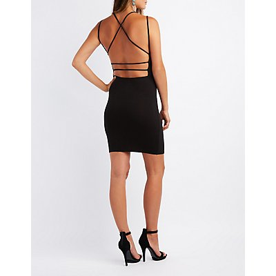 Strappy Caged Open-Back Bodycon Dress