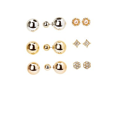 Stud & Double-Sided Earrings - 6 Pack