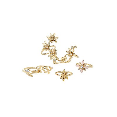 Embellished Floral Stacking Rings - 5 Pack