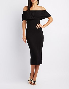 Ruffle Off-The-Shoulder Midi Dress