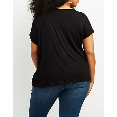 Plus Size Strappy Dolman Knotted Tee