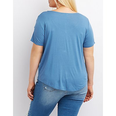 Plus Size T-Strap Knotted-Hem Tee