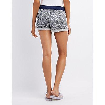 Marled Terry Drawstring Shorts