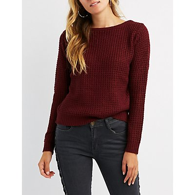 Waffle Stitch Lattcie-Back Sweater