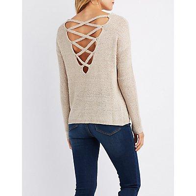 Shaker Stitch Lattice-Back Sweater