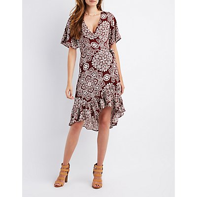 Floral Ruffle-Trim Wrap Dress
