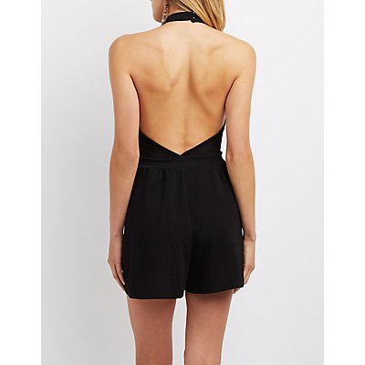 Mock Neck Halter Lattice-Front Romper