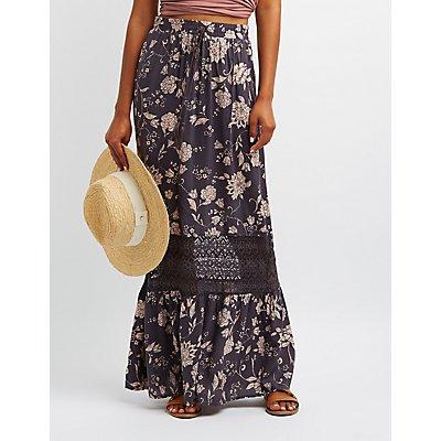 Floral Lace-Trim Maxi Skirt