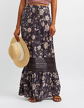 Floral Lace-Trim Maxi Skirt