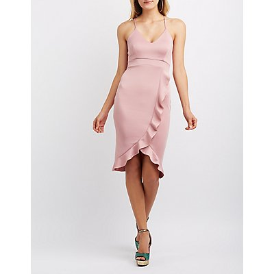 Ruffle-Trim Strappy Bodycon Dress