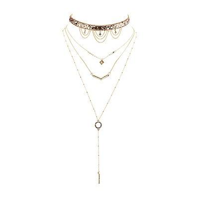 Embellished Choker & Layered Pendant Necklaces - 2 Pack