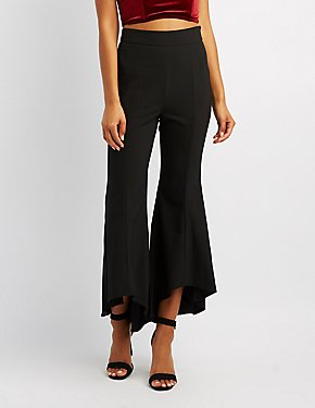 High-Low Hem Flare Pants