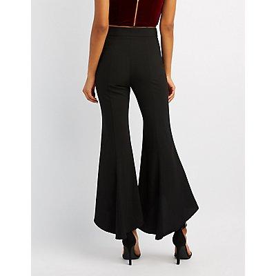 High-Low Hem Flare Pants