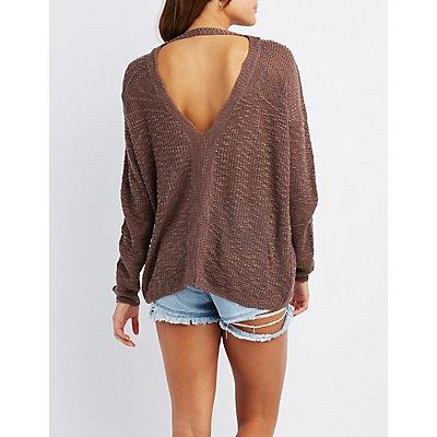 Slub Knit Open Back Sweater