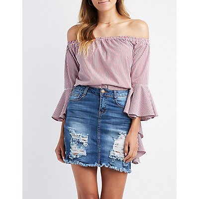 Striped Off-The-Shoulder Cascade Sleeve Top