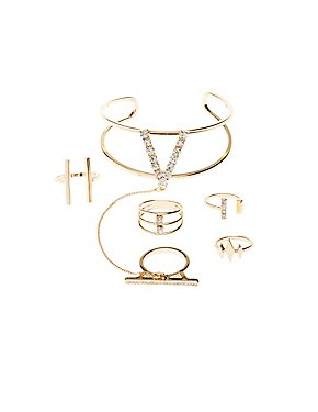 Embellished Hand Chain & Ring Set -5 Pack