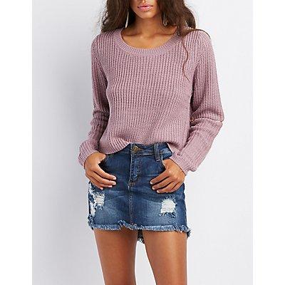 Shaker Stitch Zipper-Trim Sweater